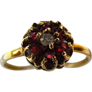 Vintage 14K Garnet & Diamond Cluster Ring
