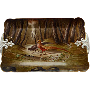 CDF GDM Limoges  HP Pheasants Serving Tray Circa 1882