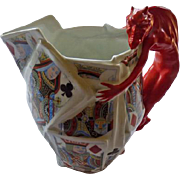 Royal Bayreuth Devil & Cards Water Pitcher 7 1/2""