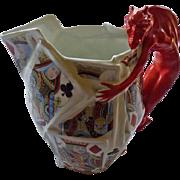 "Royal Bayreuth Devil & Cards Water Pitcher 7 1/2"""
