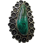 Early Jerusalem Silver Eilat Stone Pendant/Brooch