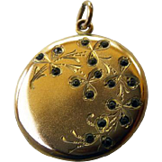 Edwardian GF Double Photo Locket With Paste