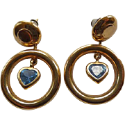14K & Blue Topaz Pierced Earrings  - Hoop & Hearts