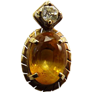 14K Diamond & Citrine Pendant