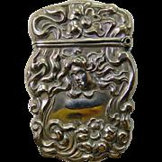 Art Nouveau STERLINE Match Safe Woman's Head