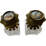 Two Grand Tour Eglomise Scent Perfume Bottles