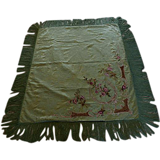 Antique French Damask Table Cover/Piano Shawl With Chenille Flowers