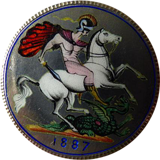 "English Enameled Coin Pin/Pendant 1887 ""St. George Slaying The Dragon"""