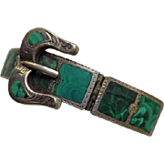 Scottish Victorian Sterling & Malachite Buckle Bracelet