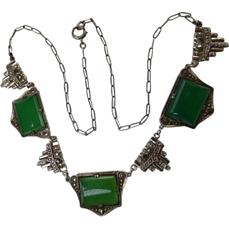 Art Deco Sterling Chrysoprase & Marcasite Necklace