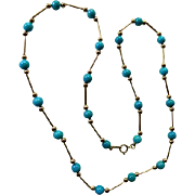 Classic 14K & Turquoise Bead Necklace