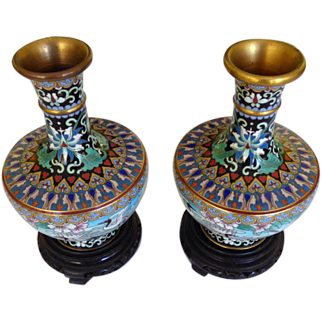 Pair Vintage Chinese Cloisonne Vases With Cranes On Wooden Stands