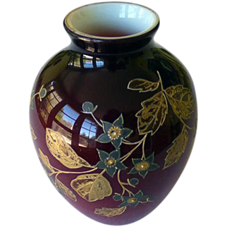Harrach Bohemian Pigeon Blood Vase With Gold Enamel Work