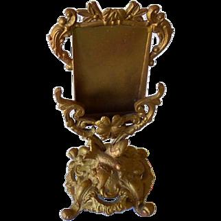 Victorian Cast Metal Figural Card Holder Bird & Shamrock