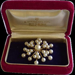 Gorgeous Mikimoto 14K Pendant/Brooch In Original Box