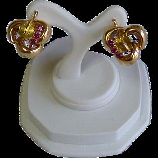 Vintage 14K Rose Gold & Ruby Earrings