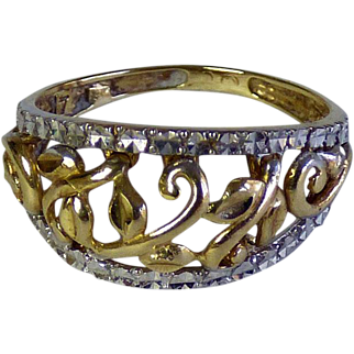 Band Style 10K White & Yellow Gold Ring