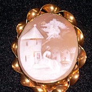 Antique Scenic Cameo Brooch 9K