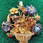 Gorgeous Vintage Vermeil Flower Basket Pin/Pendant  With Enamel Flowers