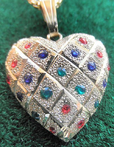 14k Heart Pendant With Gemstones/ Matching Earrings