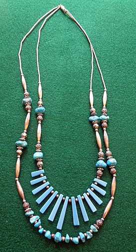 Attractive Southwestern Turquoise & Silver Tone Double Strand Necklace