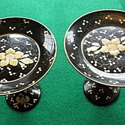 Beautiful Pair of Victorian Lacquerware Tazzas