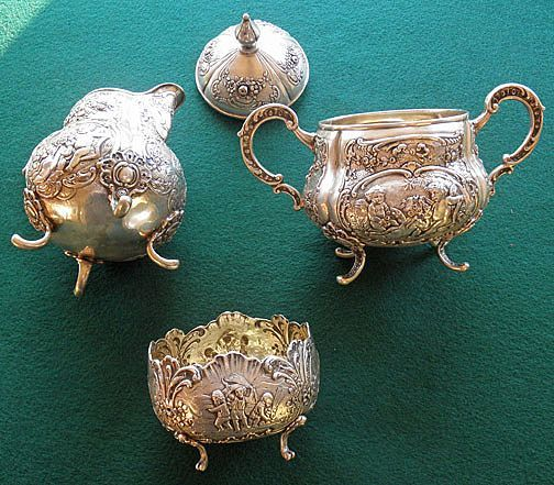 Antique Continental Silver (800) Three Piece Creamer Sugar & Waste Bowl Set