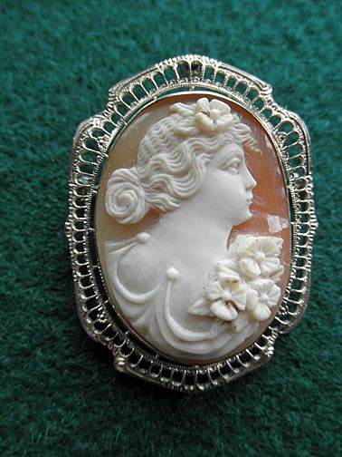 Beautiful Early Cameo with 14K White Gold Frame -  Brooch/Pendant