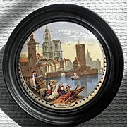 "Framed 19th Century English Prattware Pot Lid  ""Strasburg"""