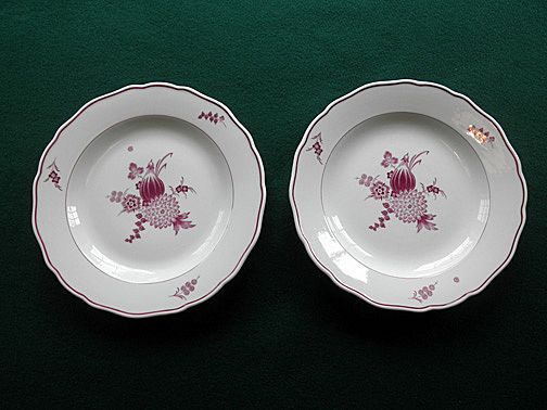 Set Of Two Meissen Mulberry Dinner Plates