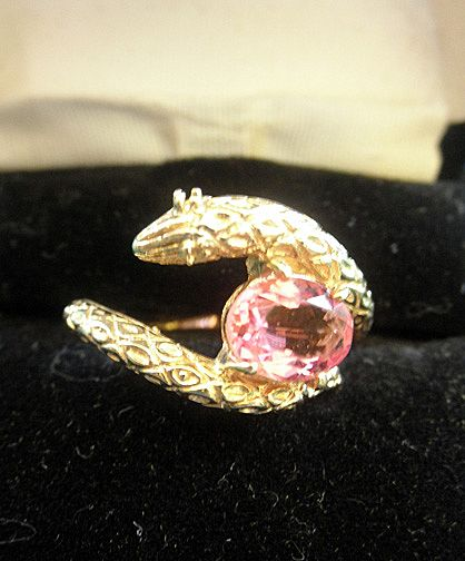 Fine 14K YG Snake Ring With Pink Tourmaline