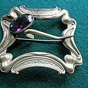 Attractive Art Nouveau Buckle Brooch Sash Pin