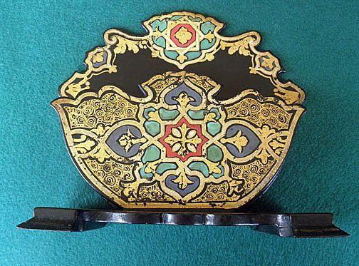 antique english papier mache letter rack holder from victoriental on ruby lane. Black Bedroom Furniture Sets. Home Design Ideas