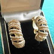Vintage Pair 14K YG Textured Earrings