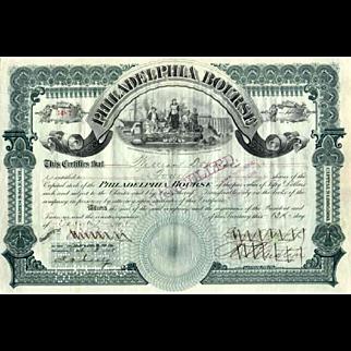 1898 Philadelphia Bourse Stock Certificate