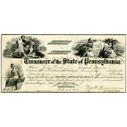 1862 Education Appropriation Check of State of Pennsylvania