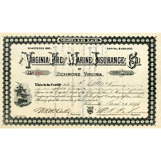 1896 Virginia Fire & Marine Insurance Stock Certificate