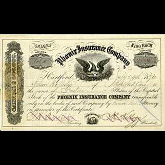 1870 Phoenix Insurance Stock Certificate