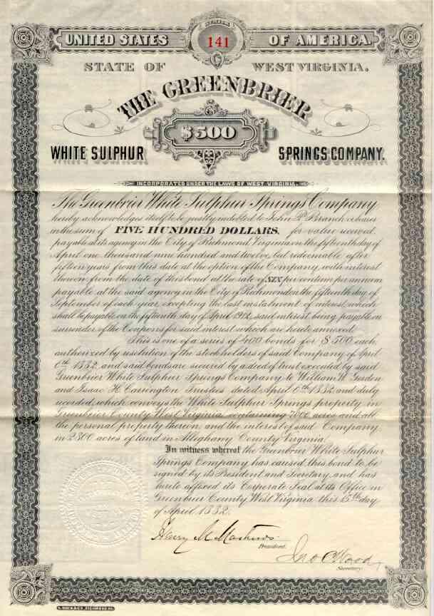 1882 Greenbrier White Sulphur Springs Co Bond Certificate