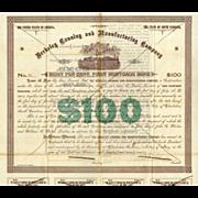 1891 Berkeley Canning & Mfg Bond with Fort Sumter Vignette