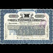 1919 Corona Typewriter Stock Certificate