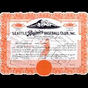 1939 Seattle Rainier Baseball Club Stock