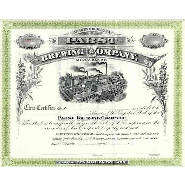 19__ Pabst Brewing Co Stock Certificate