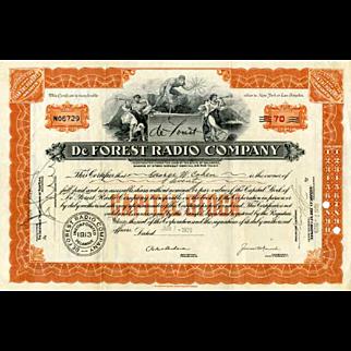 1929 DeForest Radio Co Stock