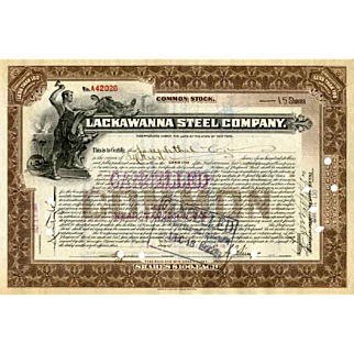 1922 Lackawanna Steel Stock Certificate