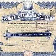 1911 Societe des Telephones Ericsson Bond Certificate (scripophily)