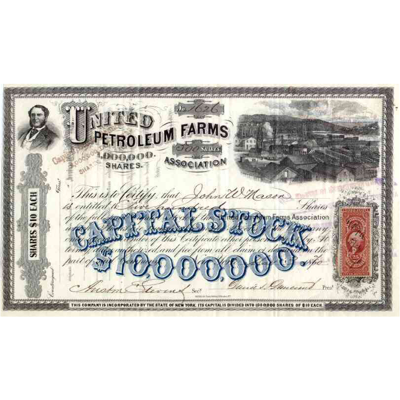 1870 United Petroleum Farms Association Stock Certificate