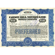 1916 Carson Hill Mother Lode Mines Stock Certificate