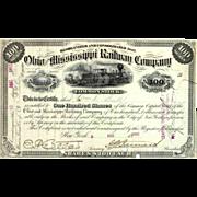 1890s Ohio & Mississippi RW Stock Certificate