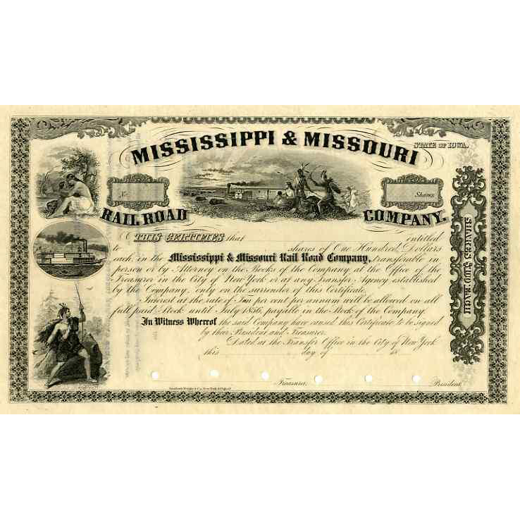 18__ Mississippi & Missouri RR Stock